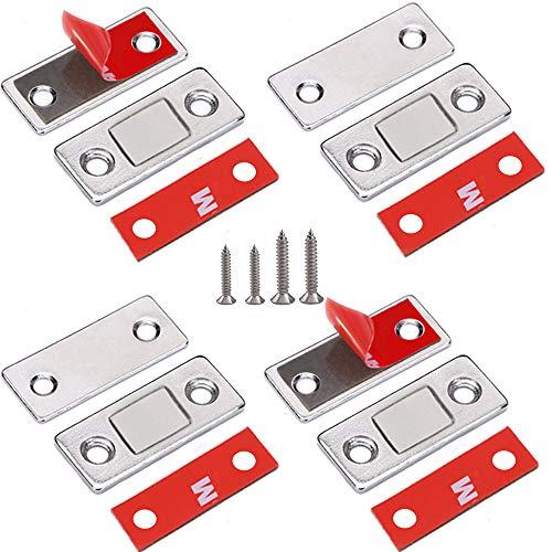Magnetschnäpper Schranktür Magnet Jiayi 4 Stück Ultra Dünn Tür Fang Magnet Schublade Selbstklebend Tür Magnetverschluss Möbelmagnet Türverschluss für Kabinett Balkontü Schiebetür Magnetschloss -
