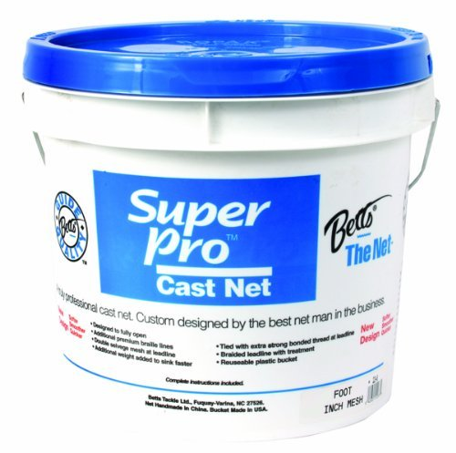 Betts 24-8 Super Pro Mono Bait Cast Net, 8-Feet 1/4-Inch, Mesh, 1.3-Pound Lead per Feet by Betts