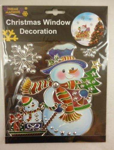 Weihnachtsfenster -Dekoration-Aufkleber / Suncatcher - Schneemann mit Schneeflocken (Suncatcher Schneeflocke)