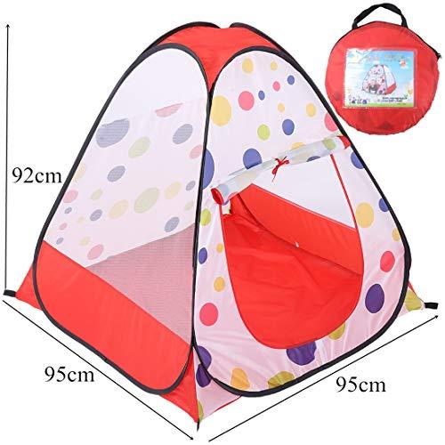 Igspfbjn Patrón de Lunares Niños Tiendas de campaña Juegos de niños en el Interior Tienda de campaña Casa de Juegos al Aire Libre Camping Área de Juegos para niños (Color : Red)