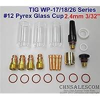CHNsalescom 23 pcs TIG Welding Stubby Gas Lens #12 Pyrex Cup 42mm Long for WP-17/18/26 3/32