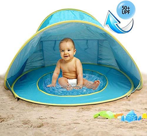 MG MULGORE Tenda a Sdraio Poppiera Portatile a Tendina per Neonati, Tenda da Spiaggia All\'aperto Protezione UV Protezioni per Il Sole Piscina per Neonati (Blu)