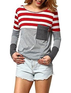 La Mujer Cuello Redondo Manga Larga Rayas Patchwork Fit Otoño Top Blusa Camiseta Con Bolsillos