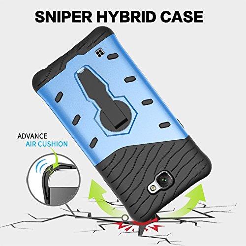 YHUISEN LG X Max Case, Hybrid Tough Rugged Dual Layer Rüstung Schild Schützende Shockproof mit 360 Grad Einstellung Kickstand Case Cover für LG X Max / LG X5 ( Color : Black ) Black