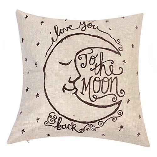 Onker Baumwolle Leinen Quadratisch dekorativer Überwurf-Kissenbezug 45,7x 45,7cm Vintage I Love You To The Moon And Back