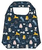 moses Shopper Love Cats - Bolsa de la Compra Plegable, respetuosa con el Medio Ambiente, Reutilizable, poliéster, Color Azul Oscuro, Talla única