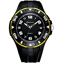 Unisex 30M Waterproof Night Light Simple Style PU Leather Strap Quartz Wrist Watch(Yellow)