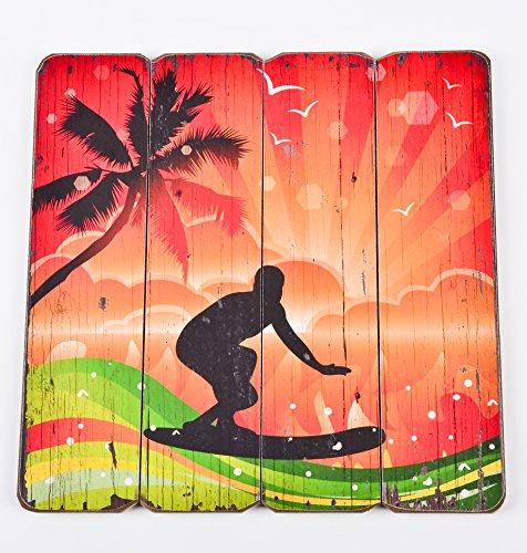 Dadeldo Living & Lifestyle Holzschild Surfers Beach Design MDF 40x40cm bunt Wand-Bild Deko