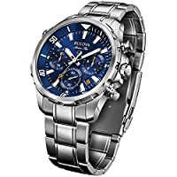 Bulova Men's Designer Chronograph Watch Stainless Steel Bracelet - Water Resistant Blue Dial Marine Star 96B256