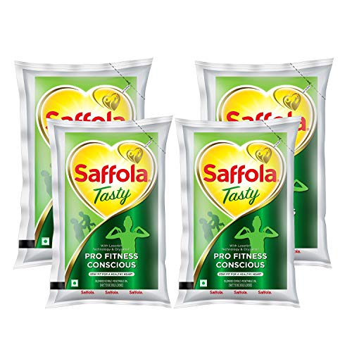 Saffola Tasty Pro Fitness Conscious Edible Oil Pouch, 1 L (Pack of 4)