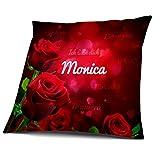 Kissen mit Füllung, Motiv Rosen mit Name Monica, vollflächig bedruckt 40 x 40 cm, Namenskissen, Geschenkidee