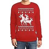 Rehntier Dreier - Lustiger Herren Weihnachtspullover Sweatshirt X-Large Rot