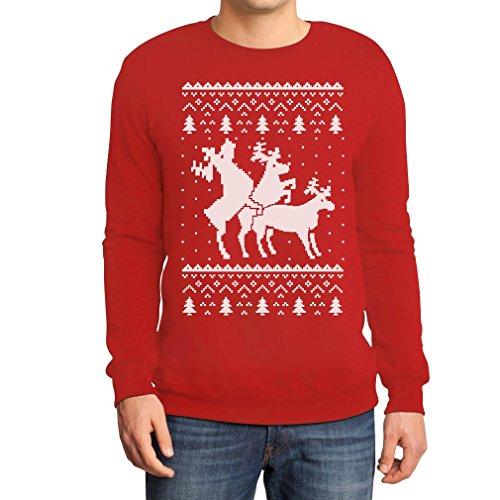 Rehntier Dreier - Lustiger Herren Weihnachtspullover Sweatshirt Medium (Sweater Ugly Christmas Ideen)