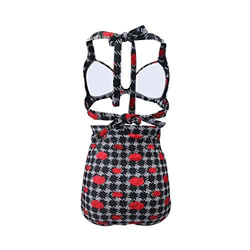 Gigileer Vintage 50s Rose Hohe Taille Push Up Bikini Sets Bademode Badeanzug Bauchweg XXXL -