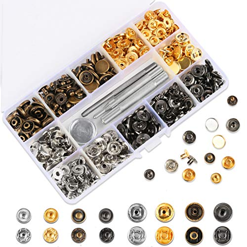 HAUSPROFI 120 Sets Druckknopf Kupfer Druckknöpfe Bronze Kleidung Snaps Taste mit Fixierwerkzeug Kit für Leder Handwerk Jacke Brieftasche Handtasche (12 mm) Patent Leder