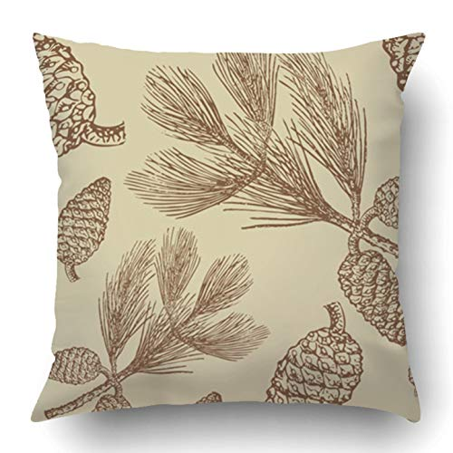 Throw Pillow Covers Brown Cranberry Vintage Pine Cones Green Fir Branch Retro Berry Drawing Engraving Tillable Polyester 18 X 18 Inch Square Hidden Zipper Decorative Pillowcase Cranberry Flash