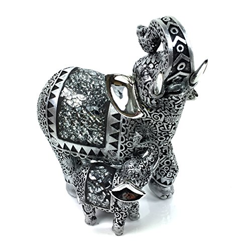 Silver Mosaic Mirror Elephant & Baby Ornament Gift Figurine Gift