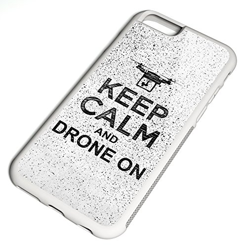 Smartcover Case Keep Calm and drone on z.B. für Iphone 5 / 5S, Iphone 6 / 6S, Samsung S6 und S6 EDGE mit griffigem Gummirand und coolem Print, Smartphone Hülle:Samsung S6 EDGE weiss Iphone 6 / 6S weiss