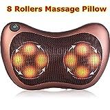 Techtest Car Electronic Massage Pillow Massager Cushion Car Lumbar Neck Back Shoulder Heat Pillow Deep Kneading Massager Relax Pain Back Pillow for Car Home Office Massager
