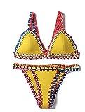 Ducomi OH My! Bikini's Crochet - Push Up Triangle Neopren Badeanzug - Sexy Bikini für Frau und Mädchen - Gratis Geschenk enthalten (M, Gelb)
