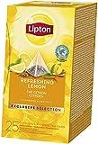 Lipton Zitrone Schwarztee Pyramidbeutel, erfrischendes Zitronenaroma, 2er Pack (2 x 25 Teebeutel)