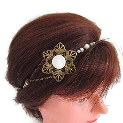 Headband mariée bohème chic fleur bronze et blanc, headband mariage, bijou de tête bohème chic, headband cabochon tissu