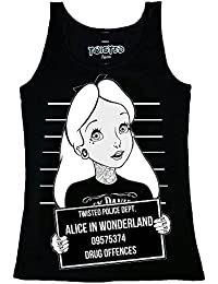 Twisted Punk Disney Alice In Wonderland Mug Shot Tatouage Vest Top gothique emo
