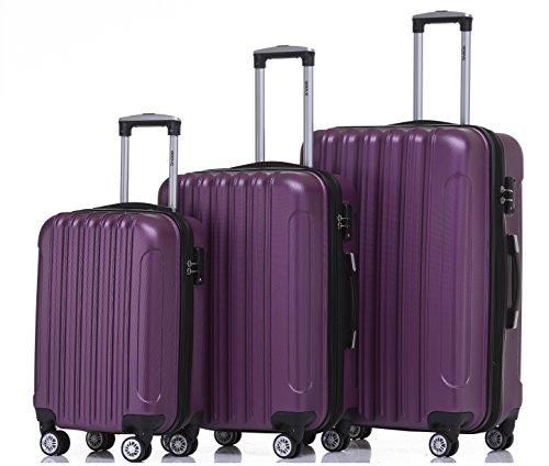 BEIBYE Zwillingsrollen 2050 Hartschale Trolley Koffer Reisekoffer in M-L-XL-Set in 12 Farben (Violett, Kofferset+TSA Schloß)