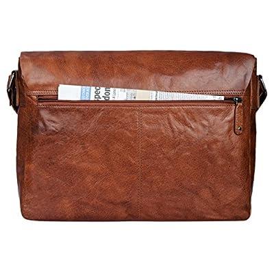 STILORD 'Samuel' Sac besace bandouliere marron en cuir pour homme femme sac pour ordinateur portable 13.3 pouces sac à l'épaule en cuir véritable