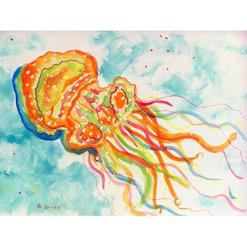 Betsy Drake dm272orange Qualle Fußmatte, Polyester-Mischgewebe, mehrfarbig, 18