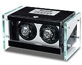 WATCH WINDER Lade Uhren schwarz mit Glas mit LED Uhrenbox 2Automatikuhren