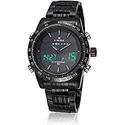 NAVIFORCE Men's Fashion Analogue Digital Stainless Steel Wrist Watch with Muti-Functions (Black)