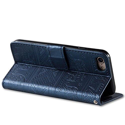 iPhone 7 Hülle,SainCat iPhone 7 Ledertasche Handyhülle Brieftasche im BookStyle Erleichterung Pfaublume Muster PU Leder Hülle Wallet Case Folio Schutzhülle Lederhülle Ledercase Scratch Bumper Handytas Erleichterung Elefant-Marineblau