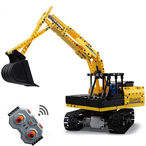 WXIAORONG Remote Control Building Blocks, 2.4GHz Remote Control Excavator Construction Car Building Kit-Build Your Own RC Machines Construction Set for Kids for Boys and Girl