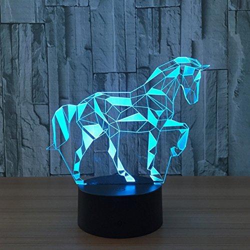 3D das pferd Optische Illusions-Lampen, Tolle 7 Farbwechsel Acryl berühren Tabelle Schreibtisch-Nachtlicht mit USB-Kabel für Kinder Schlafzimmer Geburtstagsgeschenke (Dekoration Baseball Kit)