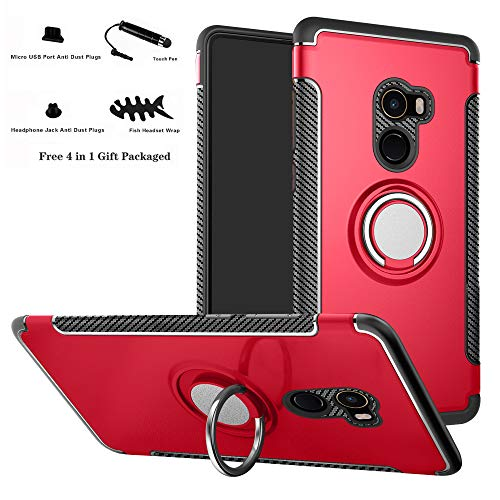 Labanema Xiaomi Mi Mix 2 Funda, 360 Rotating Ring Grip Stand Holder Capa TPU + PC Shockproof Anti-rasguños teléfono Caso protección Cáscara Cover para Xiaomi Mi Mix 2 - Rojo