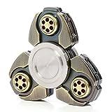Fidget Spinner Finger Spielzeug Hand Toy für Kinder und Erwachsene Tri-Spinner Metall Antistress, Entlastet Autismus Angst und Entspannung mit Schutzcase 1-3 Minuten (Bronze)