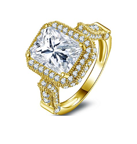 Gowe 10K Solid Gelb Gold Hot verkaufen Lady Ring Rechteck Schnitt Simuliert Diamant Schmuck