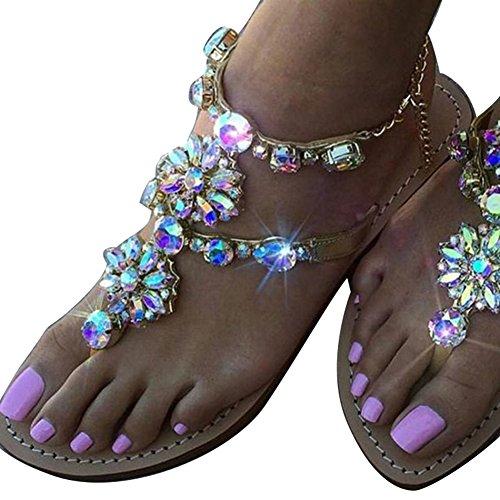 Cheyuan infradito sandali donna - moda estiva sandali estivi donna elegante ragazze casuale estate flip-flop scarpe con zeppa in strass peep toe sandali morbidi bohemia sandali
