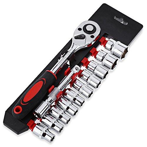 Ruiting 12pcs 1/4-pouces (6.3MM) Socket Set Clé à Cliquet Extension Tige Combo Outils pour la Réparation De Voiture Rouge ET Noir