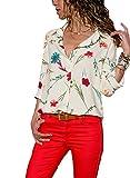 Aleumdr Bluse Damen v Ausschnitt Langarm Tunika Elegant Hemdbluse mit Blumen Top Oberteil Shirt für Sommer Loose Vintage Weiß L