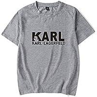 Camiseta Moda Karl-Lagerfeld Impresión Manga Corta Tee Casual Suelto Camiseta Unisexo/gris/L