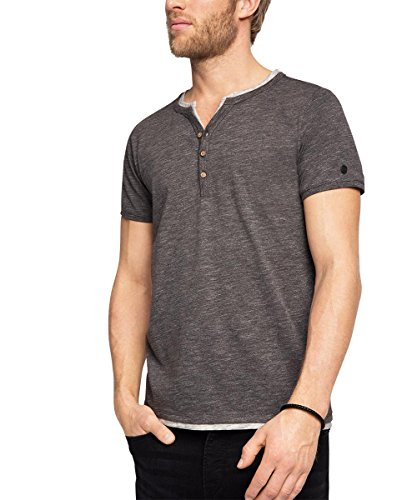ESPRIT Herren T-Shirt 996ee2k903 - 2in1 Henley - Slim Fit Grau (DARK GREY 020)