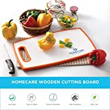 Homecare Double-Sided Antibacterial Bamboo Wooden Vegetables and Fruit Chopping Cutting Board for Kitchen with Non-Slip 100% BPA Free Plastic Holding Handles (22.8 * 36.7 * 1.3 C.M.) - Standard