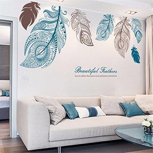 Xjklfjsiu adesivi personalizzati grandi piume parete del soggiorno adesivi murali camera da letto tv sfondo comodino apposti, 185 * 85cm