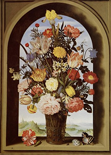 Das Museum Outlet-Stillleben mit Blumen in einer Glasvase in der Fenster Pause-Poster Print Online (A3Poster) (Fenster-kunst-druck-plakat)
