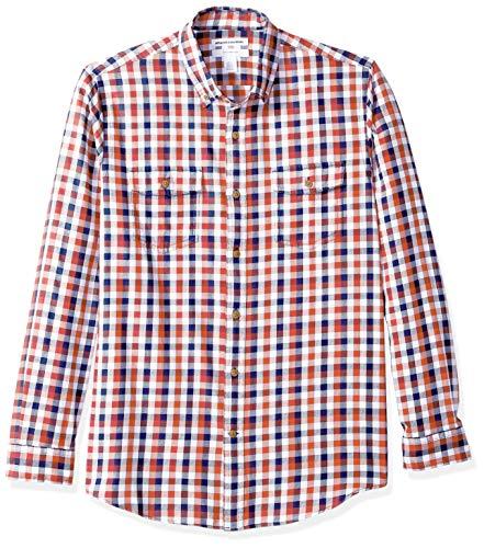 Amazon Essentials Herren Slim-Fit-Hemd aus Baumwolltwill mit langen Ärmeln und zwei Brusttaschen, Rot (Navy/Red Check Nrc), Large -