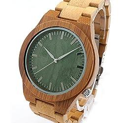 FunkyTop Herren Bambus Holz Uhr grün Dial Quartz Analog Miyota Uhrwerk Armbanduhr, Geschenkbox