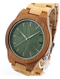 FunkyTop Hombre bambú madera Reloj de pulsera verde Dial analógico de cuarzo Miyota de reloj, caja de regalo