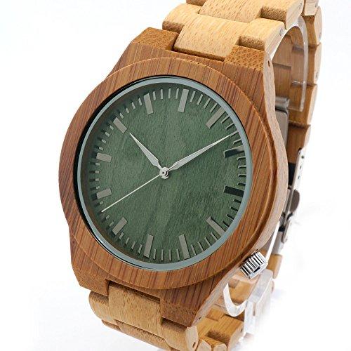 FunkyTop Hombre bambú madera Reloj de pulsera...